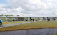 Het nieuw te bouwen informatiecentrum op de Toegangspoort Oerlandschap Holtingerveld bij Havelte wordt voor een groot gedeelte opgetrokken uit glas. Pasen 2018 moet het centrum geopend worden.