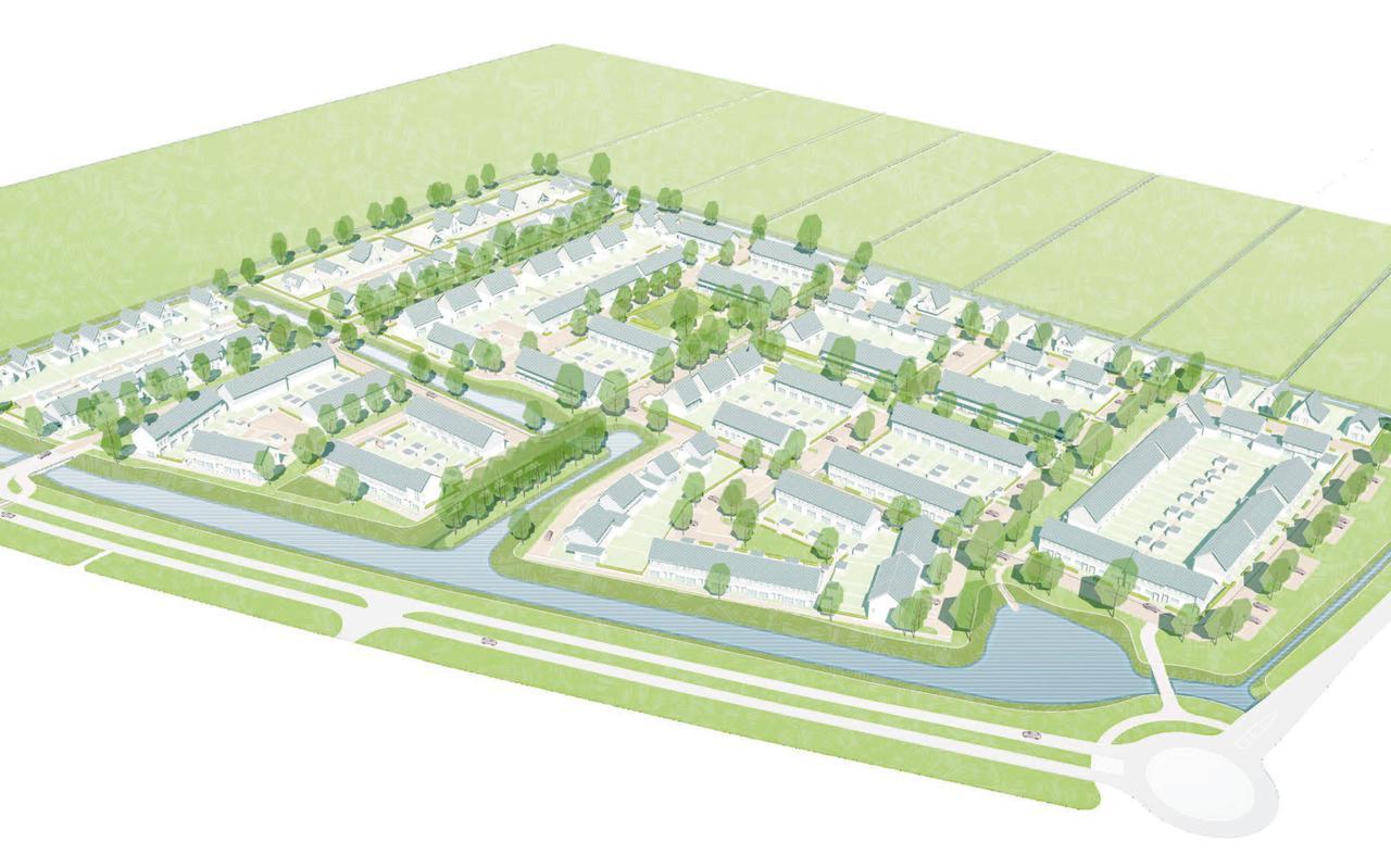 De nieuwe wijk Weideblick in vogelperspectief.