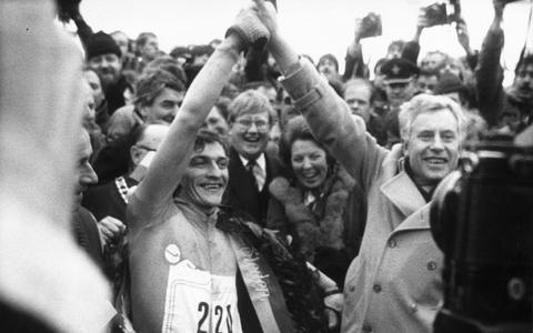 Onder anderen koningin Beatrix ving Evert van Benthem op na zijn zege in 1985.